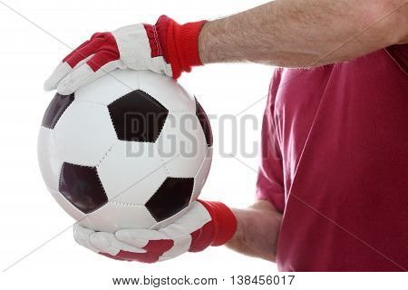 catching a leather ball with hands and gloves