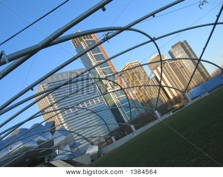 Many Small Metal Arches And Lines, Design And Modern Architecture, Chicago