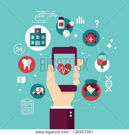 Online medical diagnosis and treatment concept with smartphone. Vector illustration