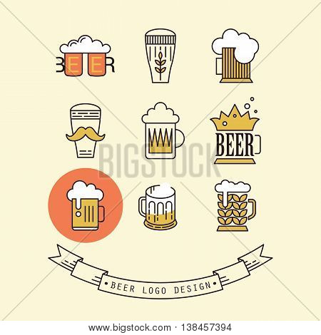 Beer logo design for pub bar or restaurant. Thin line icons vector illustration