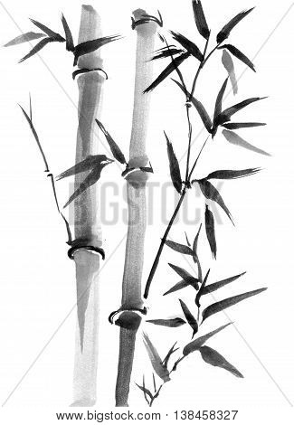 Bamboo trees hand-drawn with ink in traditional Japanese painting style sumi-e. Contains hieroglyph - happiness joy