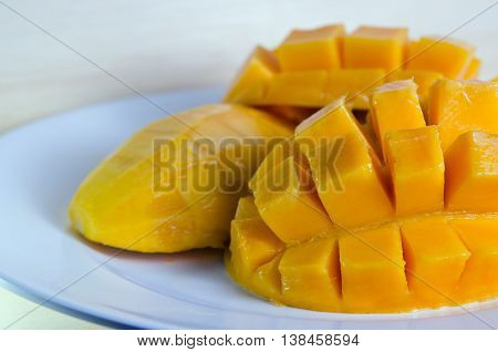 Mango Nicely Sliced On White Plate