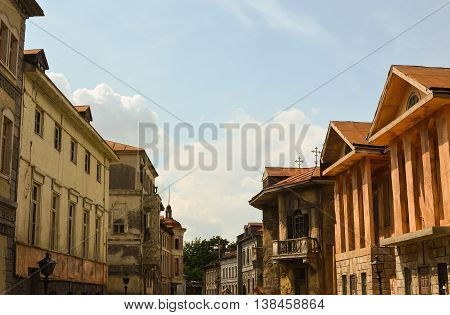Moscow, Russia - July 13, 2013 - Antique reconstruction street view on the territory of russian film studio Mosfilm. Architecture of old city's houses of 18-19 centuries.