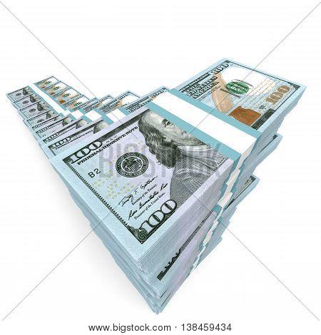 Money Stacks Graph. New One Hundred Dollars.