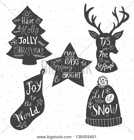 Christmas holiday hand drawn silhouettes with hand lettring. Vector illustration