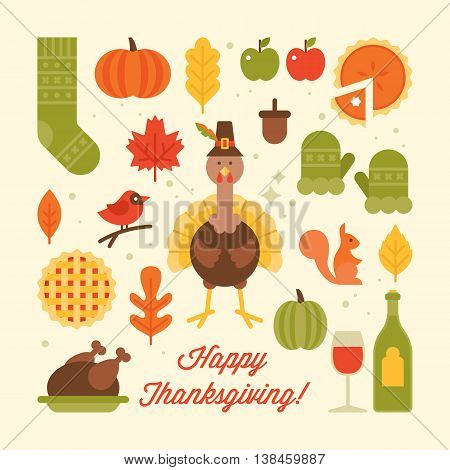 Thanksgiving holiday flat stylish icons. Vector illustration