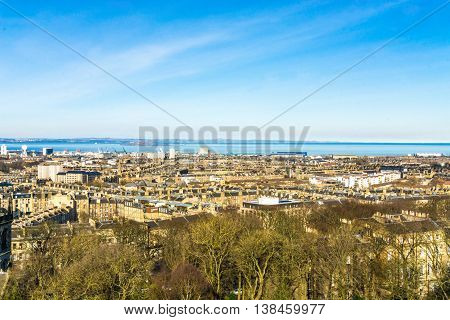 Edinburgh Cityscape From Calton Hill Blue Sky Scotland Uk