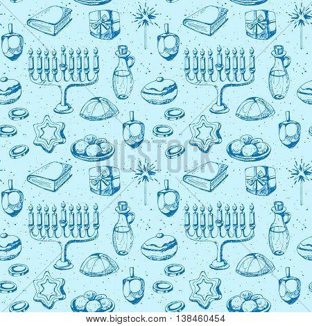 Hanukkah holiday seamless pattern design. Hand drawing vector
