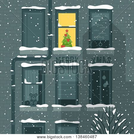 Modern creative Christmas holiday greeting card design with building and windows. Vector illustration