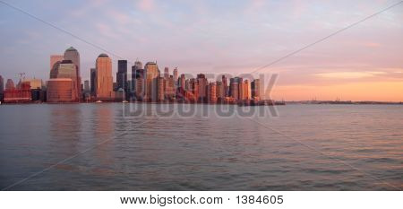 Scrape Sky Building Shore Line At The Sunset From A Boat, New York, Panorama
