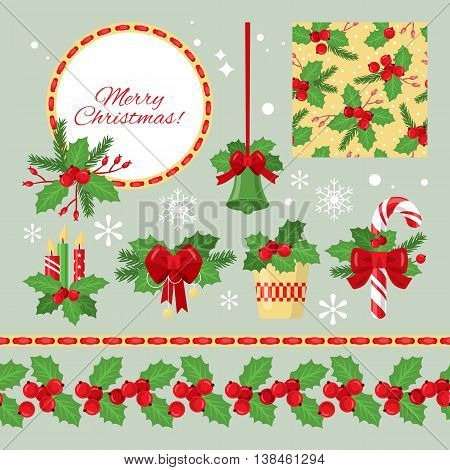 Christmas graphic elements with holly red berries and green leaves for design. Vector illustration