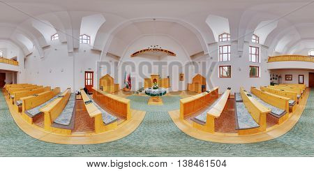 MIERCUREA NIRAJULUI, ROMANIA - May 7: 360 panorama of the interior (nave) of a brand new Unitarian Church on May 7th, 2016, in Nyárádszereda (Miercurea Nirajului), Transylvania, Romania.