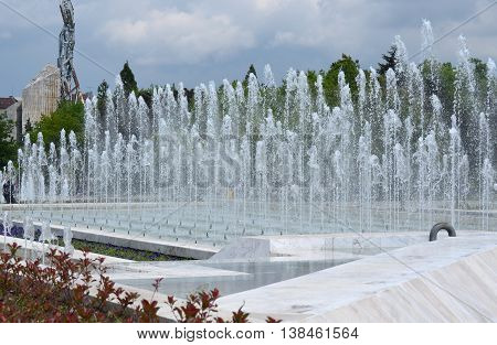 Fountains at NDK Park (National Palace of Culture) Sofia, Bulgaria,