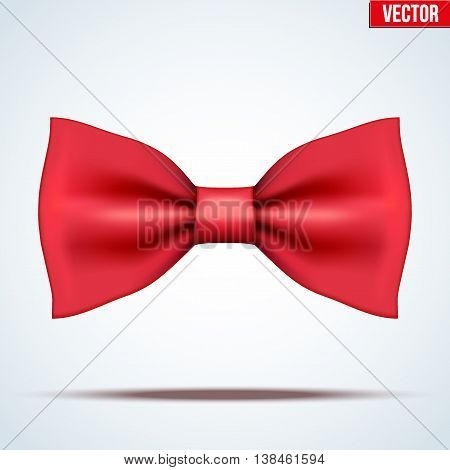 Realistic silk red bow tie. Fashion and trendy symbol. Editable Vector illustration Isolated on background.