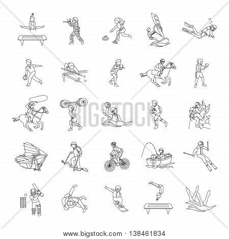 Sports II outlines vector icons collection set