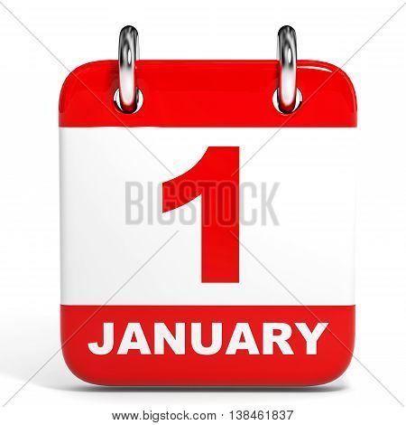 Calendar On White Background. 1 January.
