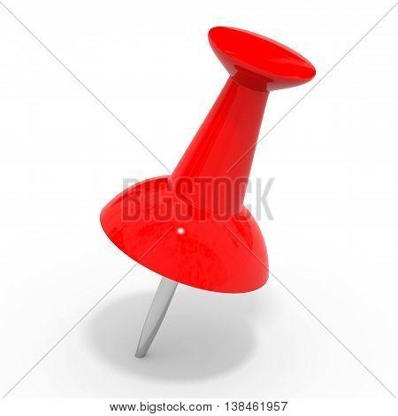 Red Push Pin On White.