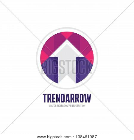 Trend arrow - vector logo template concept illustration. Abstract sign in geometric style. Design element.
