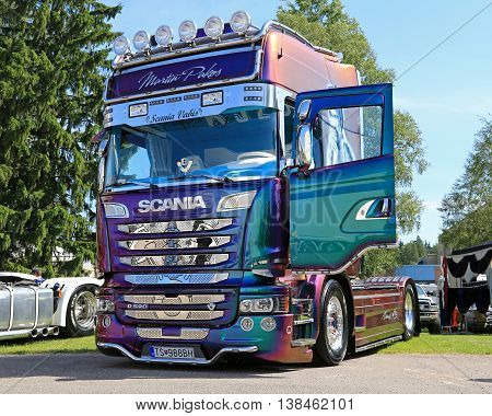 PORVOO, FINLAND - JULY 2, 2016: Colorful Scania R520 truck tractor of Martin Pakos of Slovakia on Riverside Truck Meeting 2016.