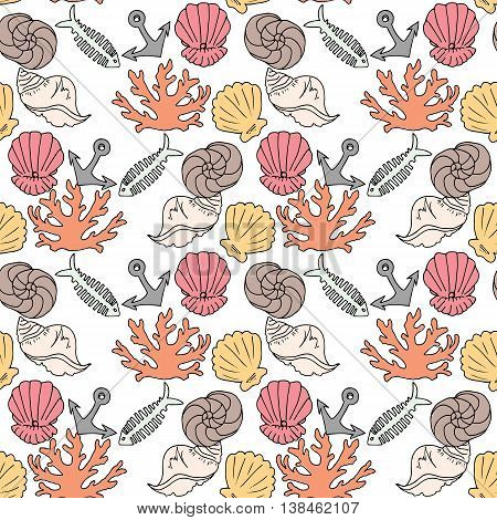 Hand-drawn Illustrations. Image With Seashells, Coral And Marine Inhabitants On The White Background