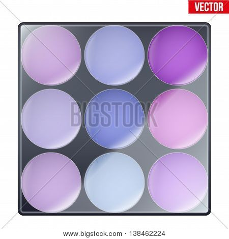 Colourful of Make Up Palette with cool shades. Eyes or face shadow. Beauty and cosmetics design. Editable Vector illustration Isolated on white background.