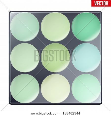 Colourful of Make Up Palette with green shades. Eyes or face shadow. Beauty and cosmetics design. Editable Vector illustration Isolated on white background.