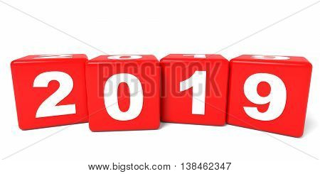 2019 New Year cubes on white background. 3D illustration.