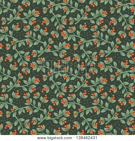 Christmas red berries seamless pattern background. Vector illustration