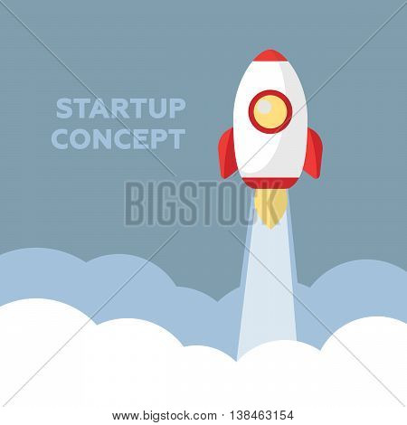 Space rocket launch. Startup creative idea eps10