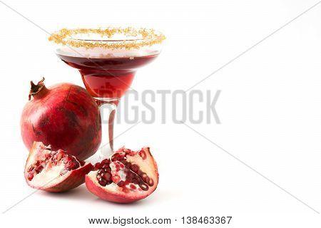Pomegranate margarita cocktail isolated on white background