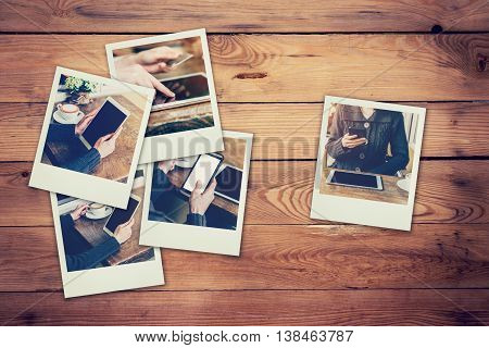 Frame Photos Woman Using Phone And Tablet Set In Coffee Shop Concept On Table Wood Background. Vinta