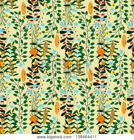 Forest seamless pattern many plants hand painted flowers and branches sketch summer background