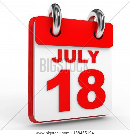18 July Calendar On White Background.