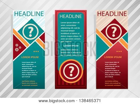 Question Mark Icon On Vertical Banner. Modern Abstract Flyer