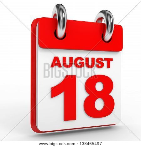 18 August Calendar On White Background.