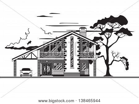 Cottage with a car on a wood background and clouds.