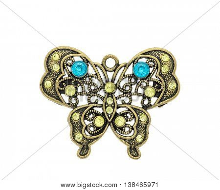 Luxury golden pendant butterfly with diamonds isolated on white