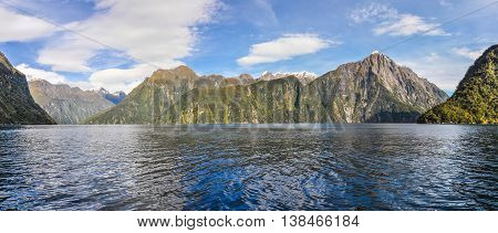 Panoramic View In The Milford Sound, New Zealand