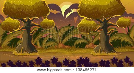 Cute cartoon forest landscape, vector unending background with ground, bushes, trees and sky layers , 1024x512