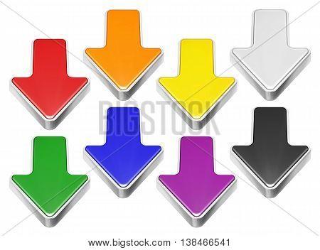 Set of cartoon 3D arrows with metal border download symbol