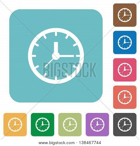 Flat clock symbol icons on rounded square color backgrounds.