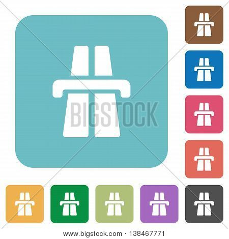 Flat highway symbol icons on rounded square color backgrounds.