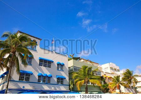 Miami Beach Ocean boulevard Art Deco district in florida USA