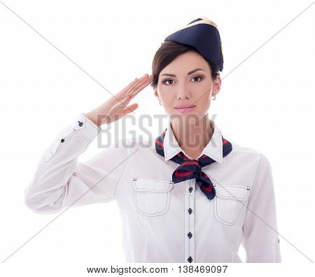 Attractive Young Stewardess Saluting Isolated On White