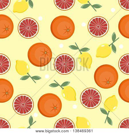 Citrus Pattern. Fruit Background. Summer Bright Background With Lemon And Orange.
