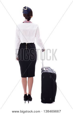 Back View Of Young Stewardess With Suitcase Isolated On White