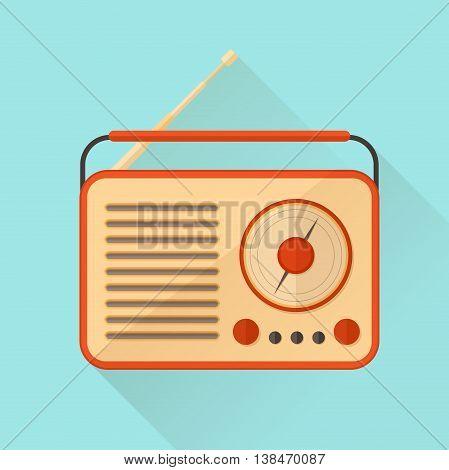 Orange vintage radio on turquoise background. Vector illustration. Flat style.