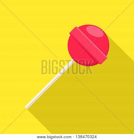 Lollipop sweet food in flat style on yellow background with shadow. Red lollipop sugar candy dessert vector.