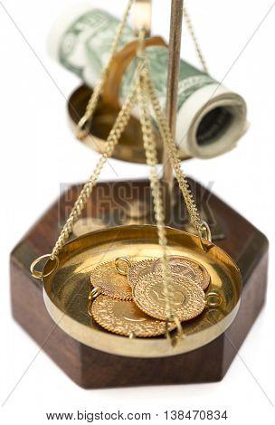 Dollar and Gold Balance Close up