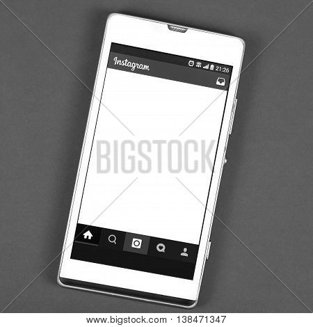 BUNG KAN THAILAND - FEBRUARY 19 2016: smart phone display Instagram app black and white
